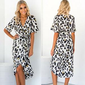 V leopardo de las mujeres imprimió el vestido largo de la manera atractiva de cuello alto de la cintura del partido de Split Vestidos vestido ocasional más el tamaño de ropa de playa