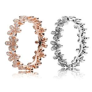 Oro rosa 18 carati \ argento Dazzling margherita Prato impilabile anello scatola originale per Pandora 925 progettista Anelli d'argento Set