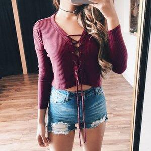 2017 Lace Front Moda Style Up brevi donne casuali canotte Crop Vest camicetta manica lunga camicia Donna Primavera Top