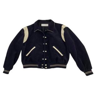 New Jacket Men E Criss-cross Uniforme casaco de gola Mulheres Rib algodão de manga Abrir ponto Patchwork Casual estrela de basebol Outono E Slp Inverno