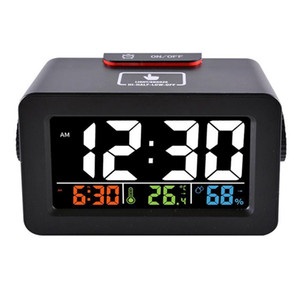 Gift Idea Bedside Wake Up Digital LED Alarm Clock with Thermometer Hygrometer Humidity Temperature Table Desk Clock Phone Charger
