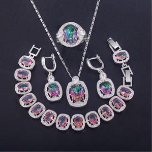 Quattro pezzi insieme dei monili quattro pezzi di moda in argento sterling orecchini della pietra preziosa della collana del braccialetto pietre preziose colorate