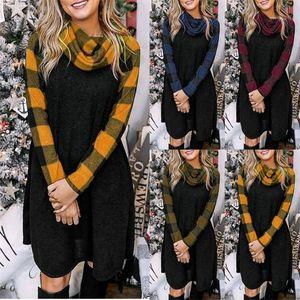 Sonbahar Tasarımcı Artı boyutu Elbise Ekose Uzun Kollu Cowl Boyun Katı Renk Kadın Giyim Moda Stil Gündelik Giyim Womens yazdır