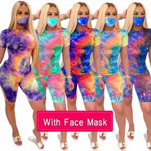 Frauen Sommerkleidung mit Gesichtsmaske 2 zweiteilige Trainingsanzüge Mode Tie-Dye T-Shirt Biker Outfit mit kurzen Hosen Sets Kleidung Street Joggen