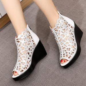 GKTINOO 2020 Verão New boca de peixe oco Rhinestone sapatos de cunha sandálias de salto alto sandálias Moda Mulheres Elegantes