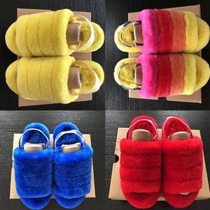 Fluff Yeah Slide Neon Gelb Blau Pantoufle Damen Furry Slippers FurSlipper Hausschuhe Fashion Luxus Pantoufles de Designer Damen Sandalen