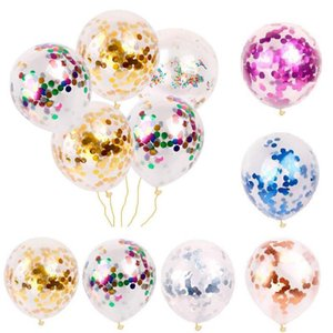 Confetti Balloons Sequins Multicolor Latex Filled Clear Balloon Novelty Kids Toys Fashion Beautiful Birthday Party Wedding Decorations LT626
