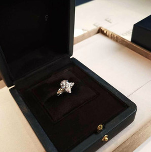Famous jewelry 925 silver gold-plated drop diamond ring women wedding diamond ring jewelry