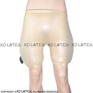 Şeffaf ile Siyah Şişme Seksi Lateks Uzun Bacak Boxer Şort Kauçuk Boy Şort Külotlar İç Pantolon DK-0046
