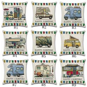 Los campistas felices caja de la almohadilla los 45 * 45cm del coche que viaja almohada del tiro de lino del amortiguador de la cubierta Home Cafe decoración de la oficina GGA3233-2 regalo