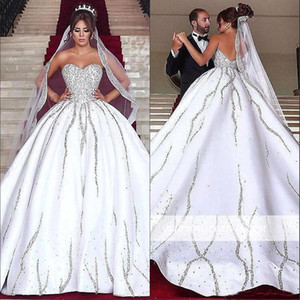 Luxe Arabe Sweetheart Satin Robe De Bal Robe De Mariage Perles Pierres Balayage Train De Mariage Robes De Mariée 2019