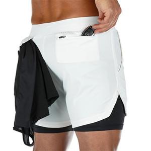 Adam Şort Erkekler 2 IN 1 Erkek GYM Kısa Fitness Egzersiz Kısa Pantolon Running 2 adet 2020 Yeni Sport Şort Erkekler Çift katlı Koşu