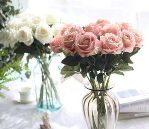 Fleurs artificielles Rose Bouquet De Mariage Accueil Parti Décoration Faux Soie tige unique Fleurs Floral Rose