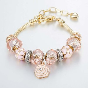 Wholesale-Gold Snake Chain New Charm Bracelet 925 sillver bracelet Crystal Beads Bracelets Flower Pendant Bangle can be adjust Diy Jewelry