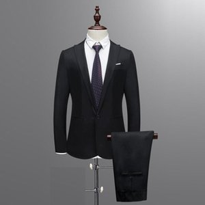 Men's Slim Blazer Set Button Suit Pure Color Dress Blazer Host Show Jacket Coat & Pant Men's Business Groomsman Suit 2020