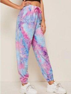 Merry Pretty-dye Tue Impreso Ssweatpants Homewear causales espectáculo de baile Hip Hop Pantalones Pantalones de Verano Mujeres