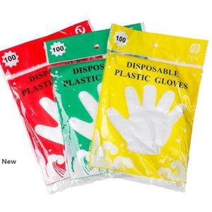 100pcs 1 saco PE descartáveis luva prova de óleo Mittens transparentes impermeável para Luvas casa limpa churrasco restaurante de cozinha KKA7745
