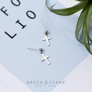 S925 Silver Cross Stud Women's Cool Mini Simple Elegant Short Drop Earrings Ear Rings E6995