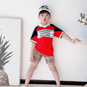 Erkek Bebek Yaz Giyim Kısa Kollu Katı Renk Gentleman Tee Kid Boys Pamuk teslimi Aşağı Yaka Cep Tişört Yakışıklı Tops