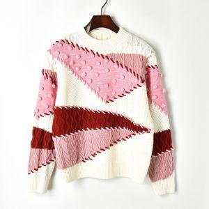N14 2019 Осень Multicolor Colorblock Вязаная пуловеры свитер с длинным рукавом Экипаж шеи Мода Свитера X1910PUs81013
