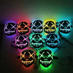 20 styles Masque Halloween LED Glowing Party cosplay masques club éclairage Party DJ Mask Bar Joker gardes visage ZZA1188 120PCS