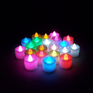 LED 캔들 설정 tealight 무 화염 캔들 티 라이트 다채로운 배터리 램프 생일 웨딩 파티 크리스마스 장식 조명 VT1720를 작동