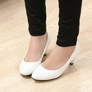 Ol Office Lady Shoes Woman Patent leather Pumps Womens Med Heels Dress shoes White Wedding Shoes Black Basic Pump Zapatos Mujer