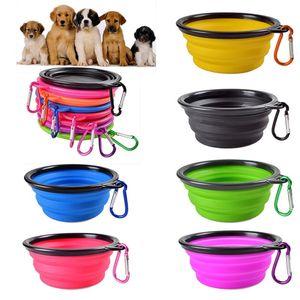 Viaje collapsible perro gato alimentación cuenco dos estilos agua plato plato plato silicona plegable tazón con gancho 18 estilos para elegir