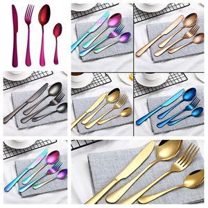 Fourchette et cuillère noir couverts en acier inoxydable plaqué or fourchette bifteck couleur créatif couverts style occidental Vaisselle Ensembles T2I5031-1