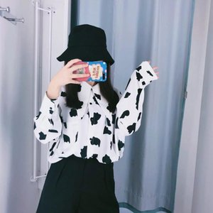 2019 Spring New Arrival Hong Kong Style Slim Cow Print Personality Collar Women Shirts Front Tie Decorated Blouse Free Shipping