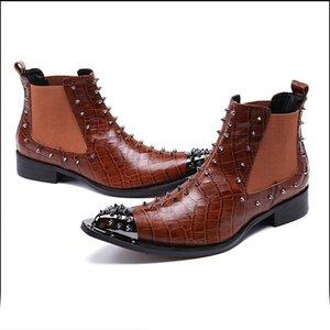 2019Plus dimensioni a punta le dita dei piedi pista Man mano borchie scarpe da ballo Paty maschio a spillo uomini del cuoio genuino Rocker Stivaletti
