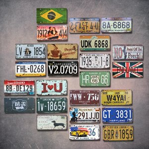 NEW lots Any 10PCS Home room decor retro creative license plate metal painting bar decor three-dimensional wall decorates pendant wall decor