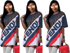 Fandi Designer T Shirt Robes Femmes Été Marque Lettre Imprimer 1/2 Mancherons Mini Rue Crayon Robes Bleu Foncé S-2XL