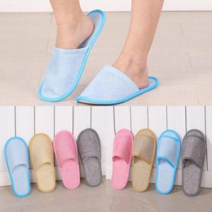 Disposable Slippers Hotel SPA casa antiscivolo Ospite Pantofole Cotone Lino respirabile comodo Uomini Donne Solo una volta Slipper 4 colori
