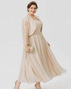 Plus Size 2020 Mother of the Bride Dresses with Jackets Lace Beaded Prom Gowns Custom Made Ankle Length A Line Wedding Guest Dress
