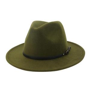 Özel Kemer Kadınlar Vintage fötr ile Şapka Erkekler Fedora Şapkalar Yün Fedora Caz Hat Chapeau Femme feutre # p5 Isınma Caps Keçe