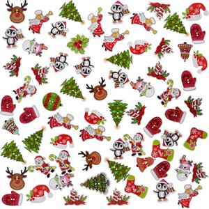 50Pcs Christmas Buttons Scrapbooking Sewing Button Children Clothes Wooden Buttons Santa Claus Charms 2 Holes Xmas Ornanment