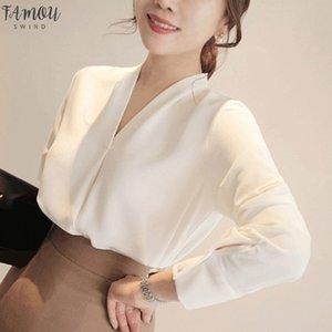 Brief Style Chiffon Blouse Women Long Sleeve Shirt Office Lady Women Tops Blusas Femininas Camisas Mujer
