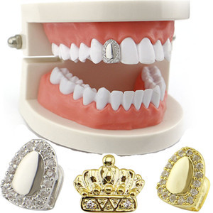 Vente en gros Un seul diamant unique Couronne dents Grillz Grillz seule dent Dents Dientes Grill Grills dents Accolades Dentes Grillz Bijoux du corps