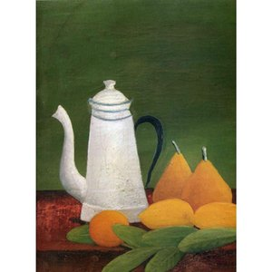 Still life with teapot and fruit oil painting Henri Rousseau hand painted Landscapes artwork paintings for wall decor