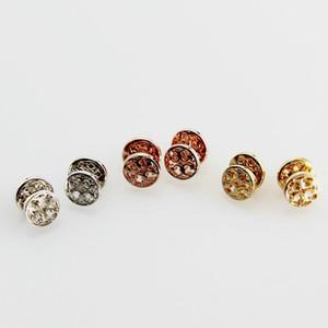 Frete grátis real ouro / prata / Rose banhado a ouro redonda oca Stud Dorp Charme Brincos Popular Marca Hot Sale carta brincos