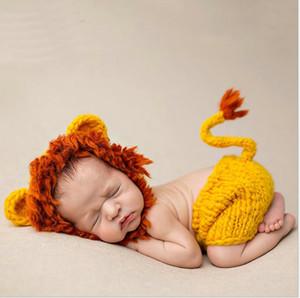 Neugeborene Babys Häkelarbeitknit Kostüm Foto Fotografie Prop Mädchen Junge Outfits Fotografia Kleidung und Accessoires Löwe Fotosession