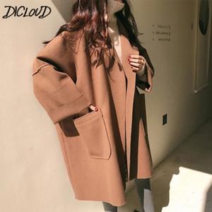 DICLOUD Abrigos de moda Mujeres 2018 Invierno Puntada abierta Prendas de abrigo Abrigo largo femenino Ropa de diseñador para mujer Chaquetas de lana Tallas grandes