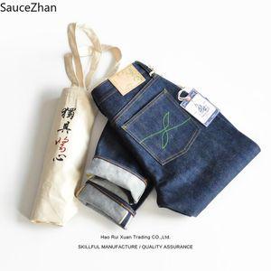 SauceZhan teñidas con color de bambú bolsa de Redline de tanino de la planta de teñido Jeans Denim primaria tintura de índigo para hombre jeans de marca