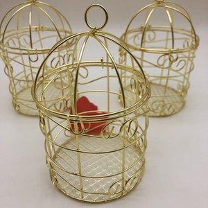Золотая свадьба благосклонность железная коробка конфет романтическая кованая клетка для птиц свадебные конфеты коробка жестяная коробка оптом свадебные принадлежности