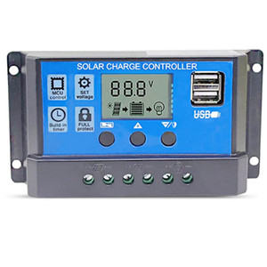 10A 20A 30A Solar Charger Controller Solar Panel Battery Intelligent Regulator with LCD Dual USB Port Display 12V 24V