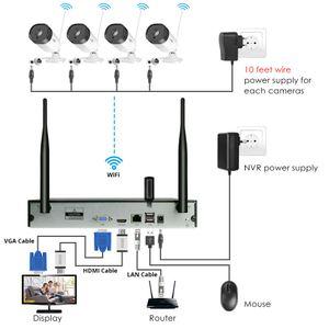 Hiseeu WNKIT-4HB312 8CH 1080P 무선 CCTV 보안 시스템 2MP IR 야외 오디오 기록 IP 카메라 방수 와이파이 NVR 키트 비디오 감시