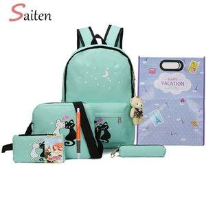 8pcs lienzo conjunto Mujeres mochilas Mujer Schoolbag impresión linda del gato del bolso de escuela para el adolescente niñas sólido Estudiante Mochila Moclila
