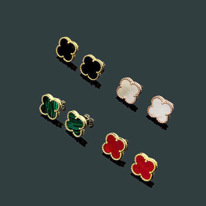 Neue Ankunft Mode Dame Messing Mini Vier Blatt Blume Perlmutt Onyx Malachit Karneol Engagement 18 Karat Vergoldet Ohrringe 3 Farbe