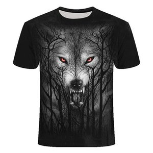 gündelik Hayvan T Shirt Erkekler tişört Moda Kurşun Erkek tişört Casual 3D aslan baskılı giysiler kısa kollu nefes Üst Tees Spor